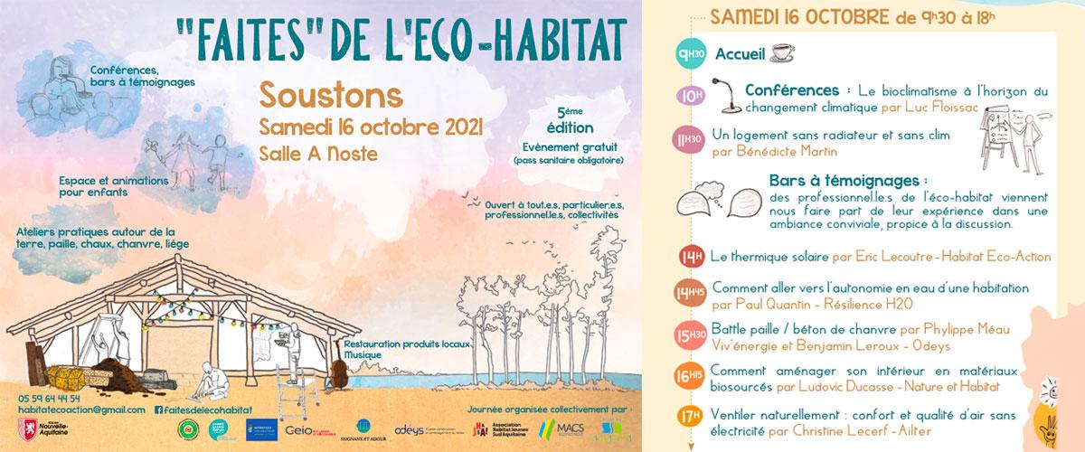 « Faites » de l'éco-habitat 15&16 octobre 2021 à Soustons